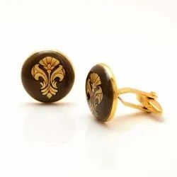 Hand Painted Cufflinks With Golden Motif On Brown Enamel In 92.5 Silver