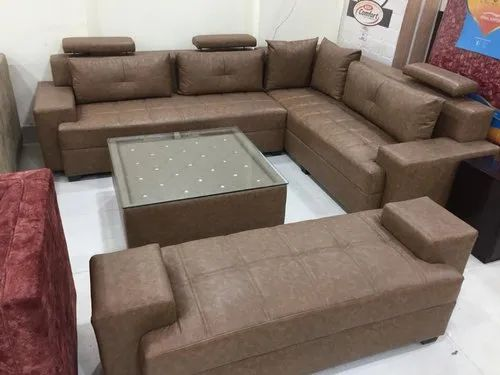Brown 7 Seater Leather Sofa Set For