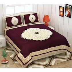 Velvet Designer Double Bedsheet with Two Pillow Covers