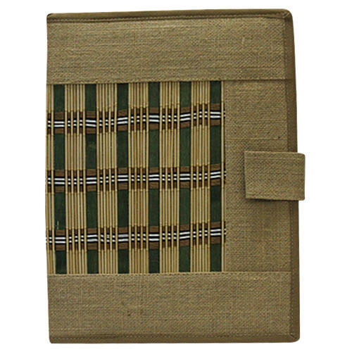 Jute File Folder With Bamboo Works, Size: A-4