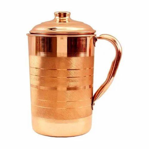 4 Tumbler SET of 5 Pcs Indian Copper Drink Water Silver Polished Hammered Jug