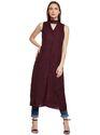 Beautiful Designer Summer Cool Maroon Choker Neck Tunic Dress