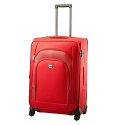 Nylon(Body Material) Plain VIP Red Luggage Trolley Bag