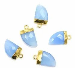 Blue Chalcedony Gold Electroplated Horn Pendant