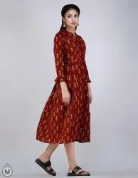 Red Printed Jaipuri Kurtis