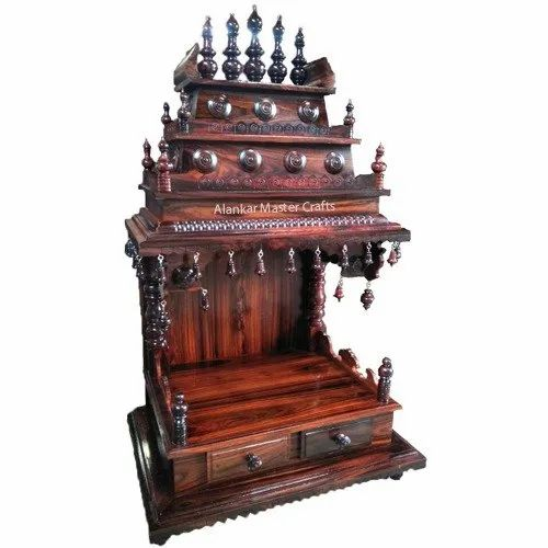 Brown Traditional Rose Wood Handcrafted Temples