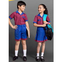 Blue And Red Cotton Kids School Uniforms