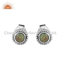 Round Ethiopian Opal Gemstone Oxidized 925 Silver Stud Earrings