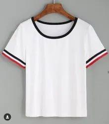 Cotton Round Ladies Plain T Shirt