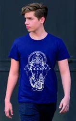Round Printed Ganesha Festival Cotton T-Shirt