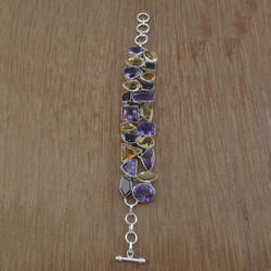 Amethyst Gemstone 925 Sterling Silver Indian Bracelet