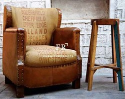 Hotel Furniture Leather Armchairs - Vintage Leather Sofa - Armchair for Restaurants, Cafes & Bars
