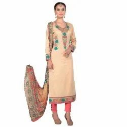 Cream Colored Glace Cotton Unstitched Salwar Suit
