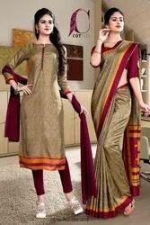 Womens Uniform Sarees And Salwar Kameez Combo