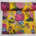 Yellow  Printed Kantha Bedspread