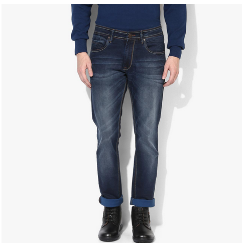 Red Chief 28 Blue Narrow Fit Sprayed With Whiskers Denims Jeans