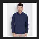 Men Navy Solid Casual Shirt
