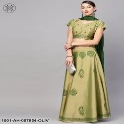 Olive Block Printed Lehenga Choli With Dupatta