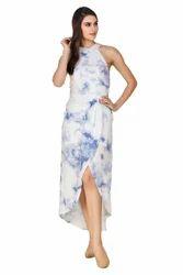 Rayon Sleeveless Halter Neck Maxi Dress, Packaging: Bag & Carton
