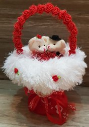 Pink And Red Couple Teddy Bookay Soft Toy For Valentine