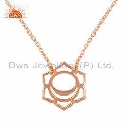 Svadisthana Chakra Design Rose Gold Plated Plain Silver Pendant