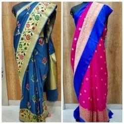 Printed Casual Wear Designer Banarasi Katan Silk Saree, 6.3 m (with blouse piece)