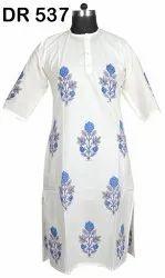 Cotton Hand Block Print Women's Long White Kurti Dress DR537