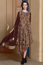Ladies Digital Printed Brown Kurtis