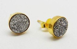 Druzy Studs Sterling Silver Earrings