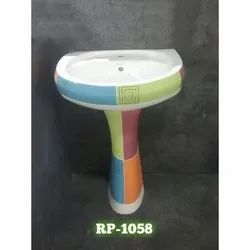 Multicolor Ceramic Coloured Washbasin with Pedestal