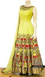 Indian Ethnic Designer Nura Silk Canary Yellow Party Wear Gown