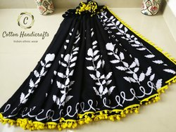 Bagru Hand Block Print Black & White Cotton Mulmul Saree
