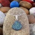 New Design Silver Druzy Gemstone Women Handmade Party Wear Pendant Jewelry