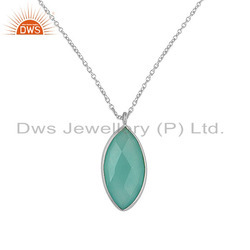 Aqua Chalcedony Gemstone Sterling Fine Silver Chain Pendant Necklace