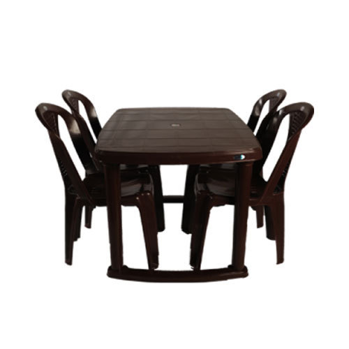 Rectangle (Table Shape) Brown Plastic Dining Table Set, Rs ...