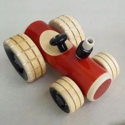 Wood & Lacquer Wooden Tractor Push Toy