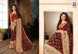 Rachna Georgette Saffron Catalog Saree Set For Woman 3