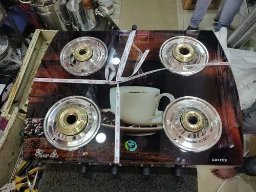 SURYA SAFE Glasstop Four Burner LPG Gas Stove, Packaging Type: Box, For Kitchen