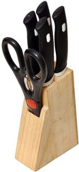 Stainless Steel Knife Set And Scissor With Wooden Stand, 5-Pieces- Wooden Knif Holder