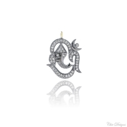 Chic Designs Black Rhodium Diamond Om Ganesha Pendant