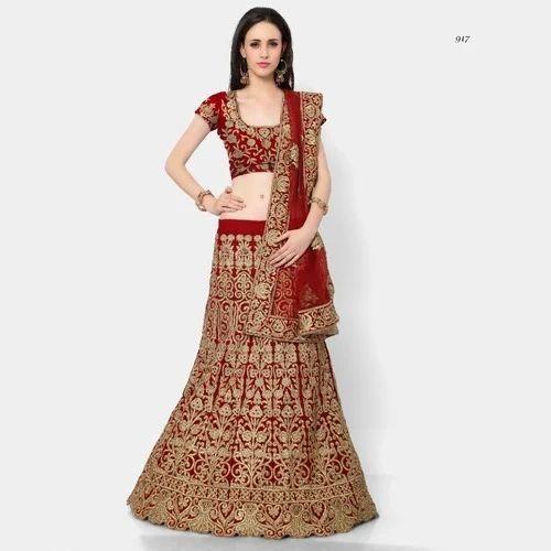 8bed47000f39 Semi-Stitched Dark Red Bridal Lehenga, Rs 20000 /piece, Simran ...