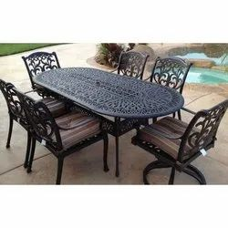 6 Cast Aluminum Chairs and 1 Table Furniture Set