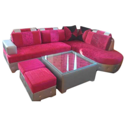 Pink L Shape Sofa Set