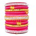 Hot Pink Fashion Handmade Colorful Silk Thread Bangles