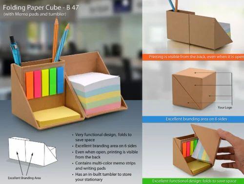 Gramart Brown And White Desktop Organiser Size 3 5x3 5 Inches