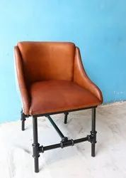 Brown Powder Coated Industrial Leather Antique Finish Chair, For Restaurant, Size: W22xd22xh30 Inch