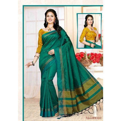 Casual Plain Silk Saree, With Blouse Piece