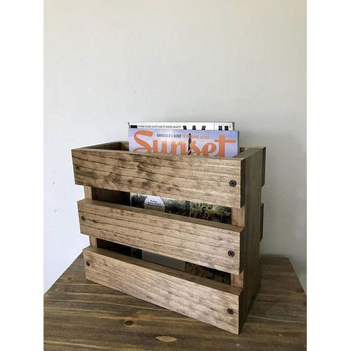 Brown Wooden Magazine Rack Rs 450