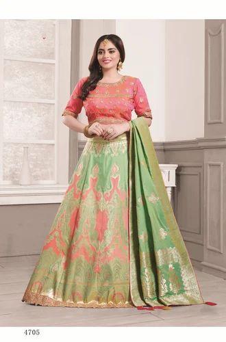 2bae1b6253 Banarasi Silk Sea Green Pink Designer Lehenga Choli, Rs 3860 /inr ...