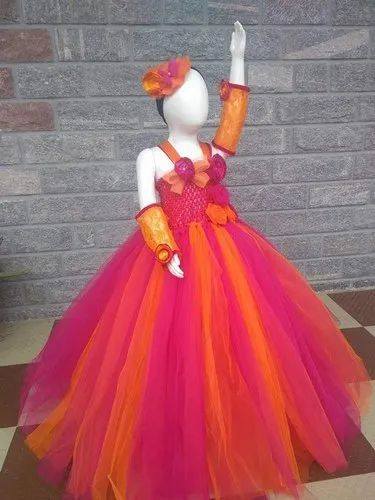 Orange And Pink Girl Nia' s Designer Party Wear Flower Gown